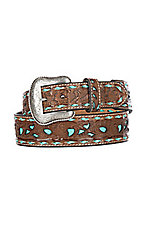 Cavender's Men's Floral Turquoise Inlay & Laced Western Belt