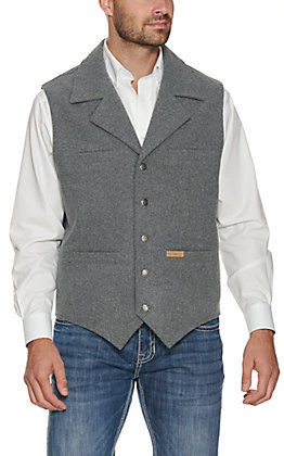 Panhandle Powder River Outfitters Men's Heather Grey Wool Vest