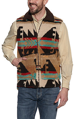 Powder River Men's Brown Multi Aztec Sherpa Vest