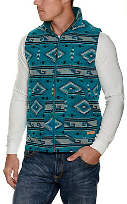 Panhandle Powder River Outfitters Men's Teal Aztec Print Vest