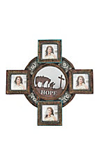 M&F Red and Turquoise Cross with Cowboy Prayer Mirrored Center Picture Frame