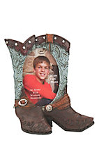 M&F Turquoise and Brown Boots with Silver Accents 4X6 Picture Frame