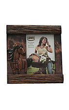 M&F Wood Brown with 3D Horse 5X7 Picture Frame