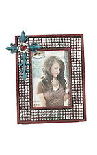 M&F Red with Silver Studs and Turquoise Cross 4X6 Picture Frame