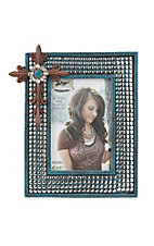 M&F Turquoise with Silver Studs and Red Cross 4X6 Picture Frame