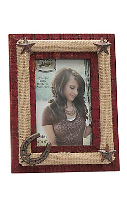 M&F Distressed Red with Burlap and Cast Iron Details 4X6 Picture Frame