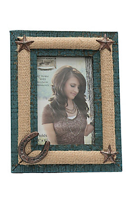 M&F Distressed Turquoise with Burlap and Cast Iron Details 4X6 Picture Frame