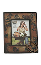 M&F Brown Faded with Horse Print 5X7 Picture Frame