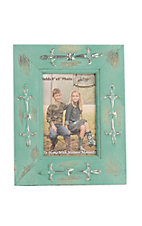 M&F Antique Turquoise with Silver Metal Embellishments 4X6 Picture Frame