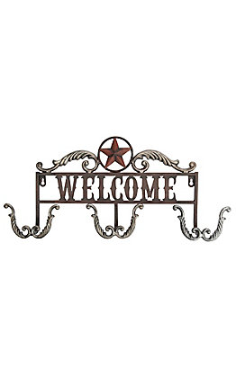 M&F Red and Silver Iron Welcome Sign with Jacket Hooks