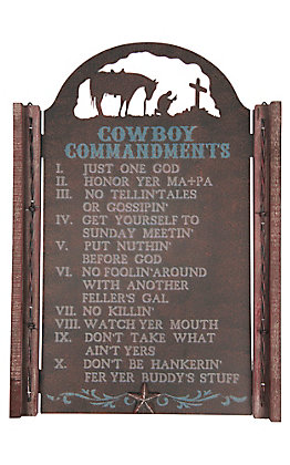 M&F Rustic Iron Cowboy Commandments with Praying Cowboy Wall Art
