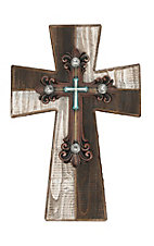 M&F Chocolate and White Wood with Iron Center and Rhinestone Embellishments Wall Cross