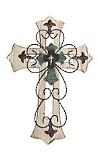 M&F Rustic Wood Layered with Turquoise Center Wall Cross