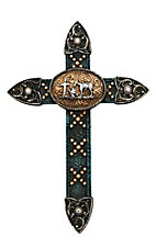 M&F Black, Gold, and Turquoise with Cowboy Praying Wall Cross