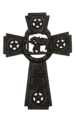 M&F Black Cast Iron with Star Cut-Outs and Praying Cowboy Cut-Out Western Wall Cross