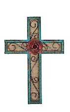 M&F Turquois Wood with Burlap Inlay Wall Cross