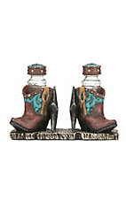 M&F Turquoise and Brown Boots with Stars Napkin and Salt and Pepper Shaker Holder