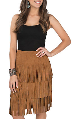 Fornia Women's Camel Faux Suede Three Tier Fringe Skirt