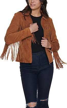 Fornia Women's Camel Faux Suede with Fringe Moto Jacket