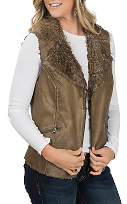 Fornia Women's Washed Green Faux Leather and Fur Vest