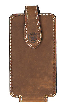 Ariat Brown Leather with Embossed Logo Large Cell Phone Case