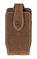 Ariat Brown Leather with Embossed Logo Small Cell Phone Case