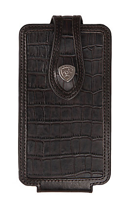 Ariat Black Croc Print with Chocolate Trim Large Cell Phone Case
