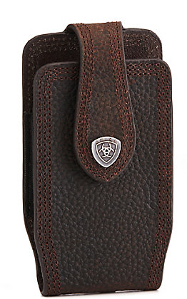 Ariat Ariat Brown Leather Triple Stitch with Shield Small Cell Phone Case