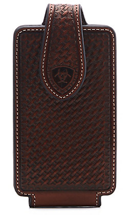 Ariat Brown Leather Basketweave Small Cell Phone Case