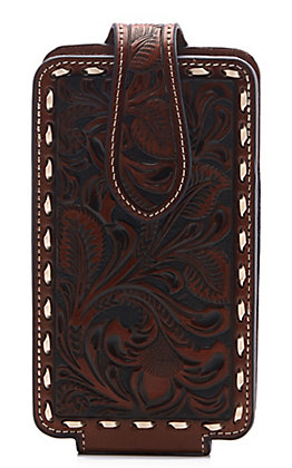 Ariat Brown Leather Tooled Large Cell Phone Case