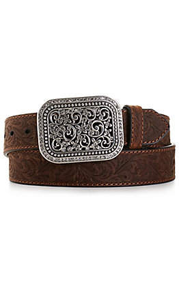 Ariat Women's Medium Brown Rhinestone Filigree Belt