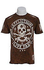 Affliction Men's Orange/Black See Evil Short Sleeve Tee - Reversible