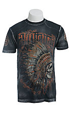 Affliction Men's Black Peace Pipe Logo Tee