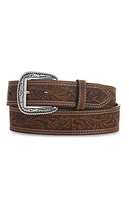 Ariat Brown Tooled Double Stitched Mens Belt A1012402