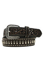 Ariat Dark Brown with Tooled Tab & Conchos Mens Belt A1012602