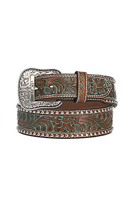 Ariat Men's Brown Embossed with Turquoise Accents and Silver Studs Wide Belt
