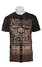 Affliction Men's Tobacco Malibu Canyon with Taping T-Shirt
