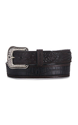 Ariat Crocodile Print with Floral Tabs Belt