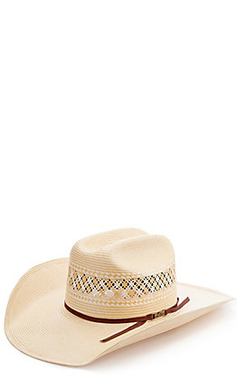 American Hat Co. Two-Toned Vented Tan and Ivory Straw Cowboy Hat