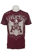 Affliction Men's Burgundy Tried and Tried with Taping T-Shirt
