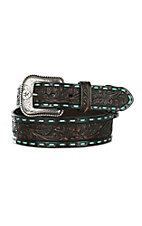 Ariat Men's Brown Tooled with Turquoise Laced Edge Western Belt