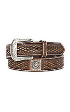 Ariat Men's Brown Basket Weave Square Star Emblem Fashion Western Belt