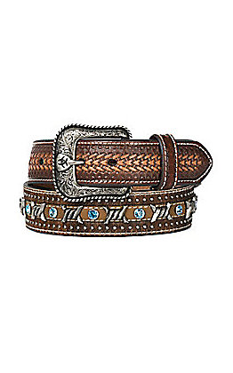 Ariat Men's Brown Barbed Wire and Calf Hair with Light Blue Studs Western Belt