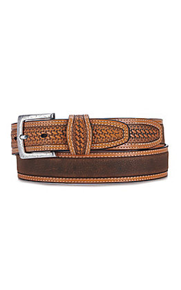Ariat Men's Classic Basketweave and Tan Edge Embroidered Western Belt