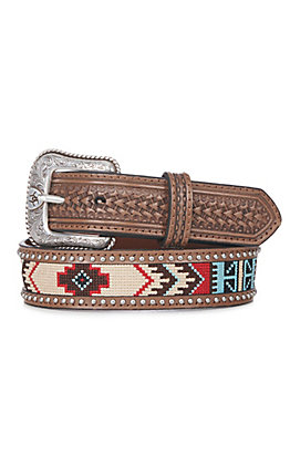 Ariat Men's Brown with Aztec and Studs Basketweave Western Belt