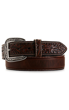 Ariat Men's Marble Brown with Floral Tabs Belt