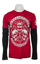 Affliction Men's Red Two Fer Death Wish T-Shirt