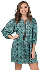 Umgee Women's Mint Multi Print 3/4 Sleeve Dress