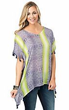 Surf Gypsy Women's Lime & Navy Print with Blue Tassel Trim Drop Sleeve Top