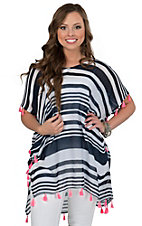 Surf Gypsy Women's White & Navy Stripe with Neon Pink Tassel Trim Drop Sleeve Top